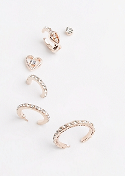 6-Pack Rose Gold Heart Hoops Stone Earring Set