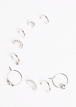 9-Pack Silver Fireball Hoop Earring Set