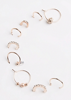 9-Pack Rose Gold Fireball Hoop Earring Set