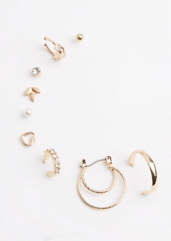 9-Pack Golden Hoop Earring Set