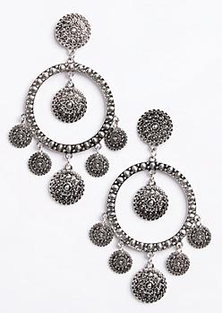 Coin Drop Hoop Earrings