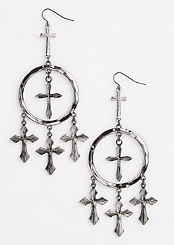 Antique Metal Cross Hoop Earrings