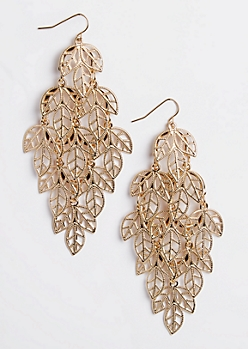 Filigree Leaf Chandelier Earrings