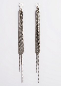 Silver Chain Fringed Earrings