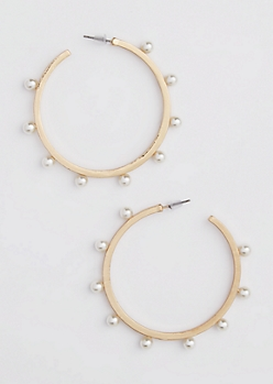 Gold Bar Pearled Hoop Earrings