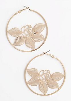 Golden Rose Hoop Earrings
