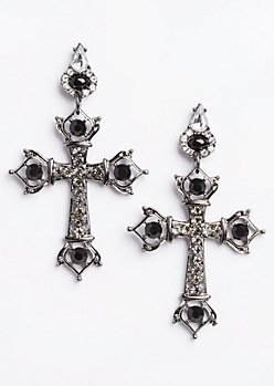 Antique Stone Cross Earrings