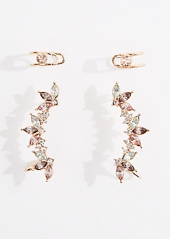 4-Pack Gold Stone Climber Earring & Cuff Set