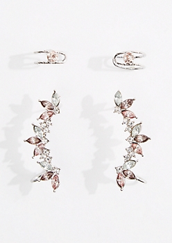 4-Pack Silver Stone Climber Earring & Cuff Set