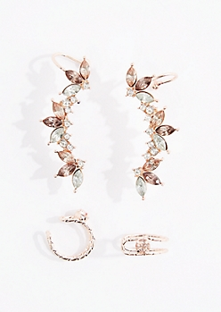 4-Pack Stone Climber Earring & Cuff Set