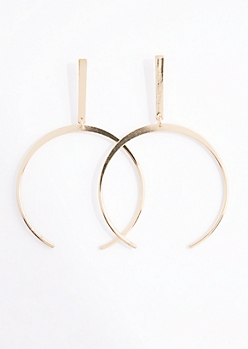 Geo Open Hoop Drop Earrings