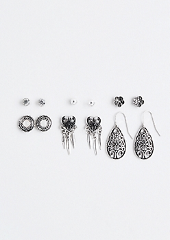 Metallic Openwork Earring Set