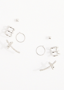 10-Pack Diamante Cross & Cuff Earring Set