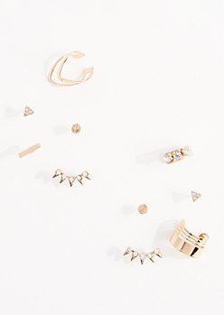 10-Pack Diamante Sunburst & Cuff Earring Set
