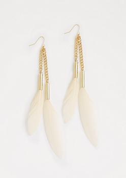 Ivory Feather Drop Earrings