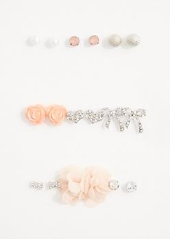 Pink Rose Earring Set