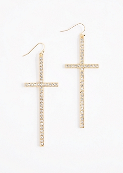 Gold Tone Diamante Cross Drop Earrings