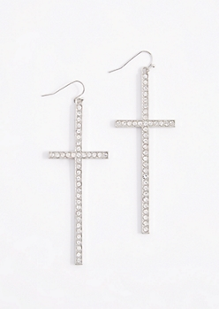 Silver Tone Diamante Cross Drop Earrings