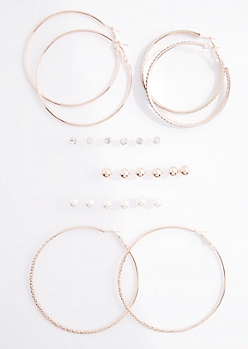 12-Pack Rose Gold Stone Stud & Hoop Set