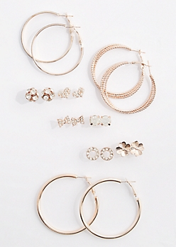9-Pack Hoops & Fireballs Earring