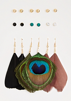 Peacock Feather Earring Set