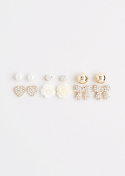 Diamante Bow Stud Set