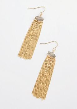 Antique Gold Stone Fringe Earrings