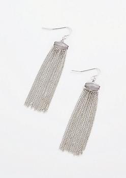 Antique Silver Stone Fringe Earrings