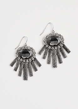 Antique Gemstone Burst Earrings