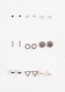 9-Pack Geo & Pearl Earring Set