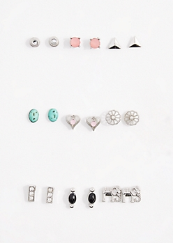 9-Pack Mini Elephant Gem Stud Earring Set