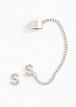 S Stone Shimmer Cuff Earring Set