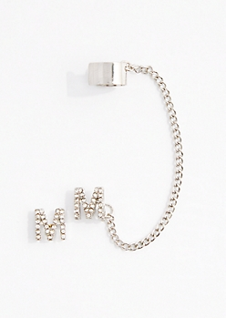M Stone Shimmer Cuff Earring Set