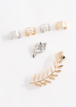 Mixed Metal Laurel Cuff Earring Set