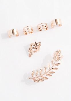 Rose Gold Metal Laurel Cuff Earring Set