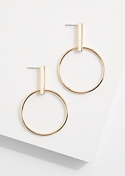 Golden Hoop Drop Earring