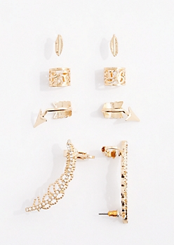 8-Pack Stone Leaf Earring & Cuff Set