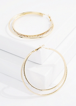 Gold Stone Double Hoop Earring