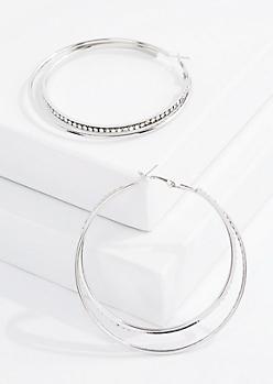 Silver Stone Double Hoop Earring