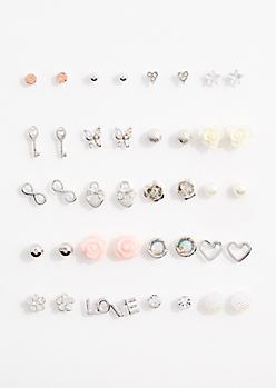 Glittering Rose Earring Set