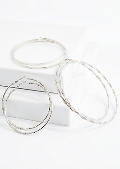 Silver Tone Oversized Twisted Hoop Trio