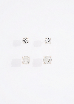 2-Pack Circle Cut Stud Earring Set