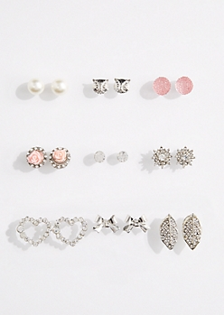 9-Pack Stone Burst Stud Earring Set