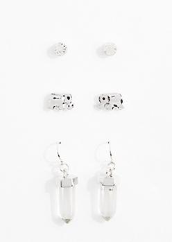 Clarity Healing Stone Earring Trio