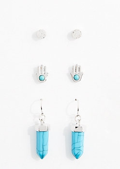 Protection Healing Stone Earring Trio