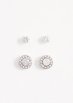 2-Pack Bordered Round Cubic Zirconia Stud Set