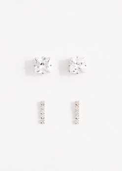 2-Pack Square Cubic Zirconia Stud Set