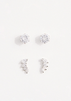 2-Pack Marquise Spray Cubic Zirconia Stud Set