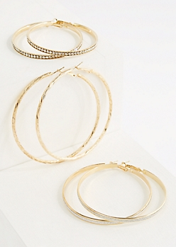 3-Pack Oversized Sparkly Hoop Earrings