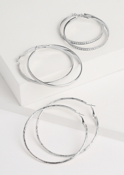 3-Pack Silver Oversized Sparkly Hoop Earrings